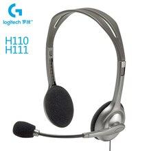 Logitech H110/H111 игровая гарнитура С микрофоном 3,5 мм Jack стерео музыка вызова Gamer наушники для настольных ПК