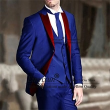 Royal Blue Mens Suits For Wedding Red Lapel Groom Tuxedo Slim Fit  Prom Blazer 3 Pieces Terno Mascul