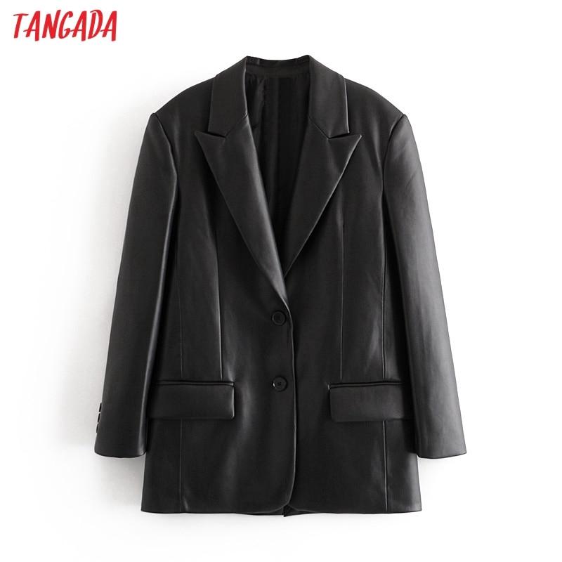 Tangada معطف نسائي من الجلد الصناعي, Tangada معطف نسائي أسود اللون بياقة مسننة وأكمام طويلة 2020 ، ملابس نسائية أنيقة فضفاضة QN37