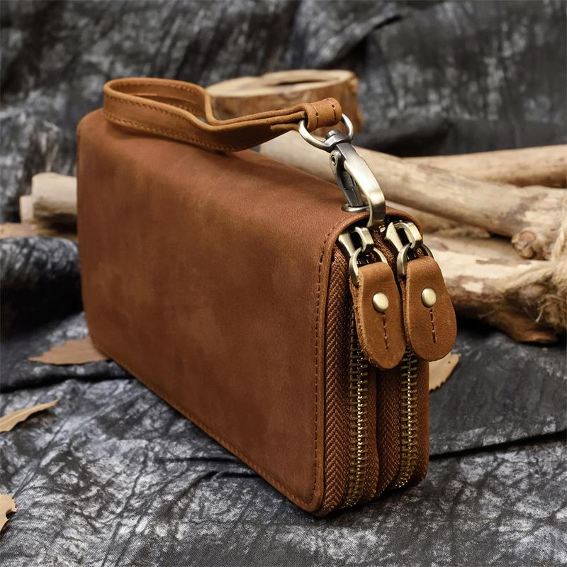 Bolso largo de cuero Vintage para hombre y mujer, billetera con cierre doble y largo para tarjetas de crédito y con diseño de Caballo Loco