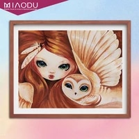 5d diamond painting dreamy girl and owl cross stitch embroidery full dill handmade art mosaic home decor gift