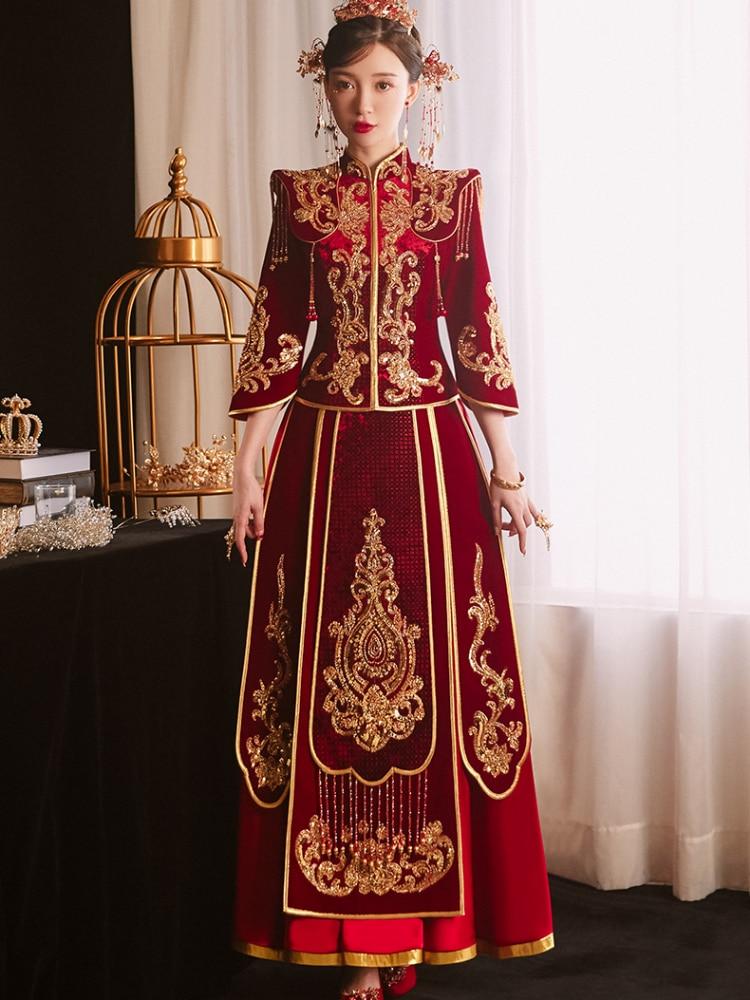 Women Chinese Style Wedding Skirt Suit 2021 Autumn Sweet Vintage Print Embroidery Sequins Long Plus Size Elegant Luxury Clothing