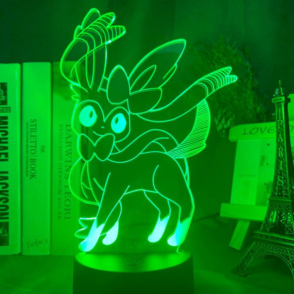 Lámpara óptica 3D juego Pokemon Go Sylveon figura luz nocturna para la decoración de la habitación de la niña iluminación Led cambio de Color Lámpara de noche para regalo