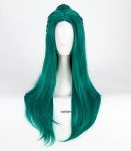 Tyrande Whisperwind Cosplay perruque longue vert résistant à la chaleur synthétique cheveux perruque + bonnet de perruque