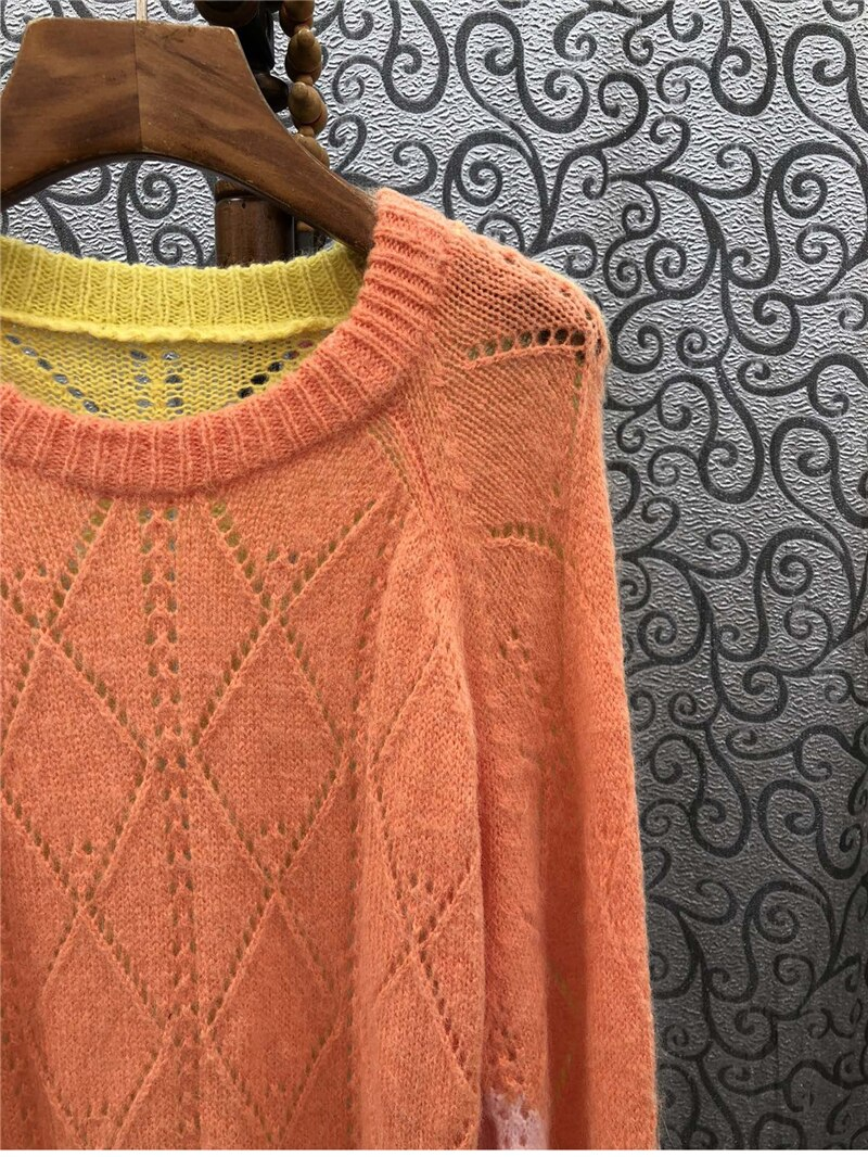 2021 Autumn Fashion Sweaters High Quality Women Color Block Knitting Long Sleeve Casual Loose Pullovers Ladies Soft Knit Wear enlarge