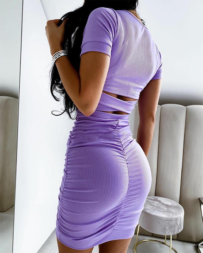 2020 neue Casual Frauen Bodycon Gestrickte Kleid Frauen Lila Sommer Kurzarm Cross Strap Party Club Mini Wrap Kleid