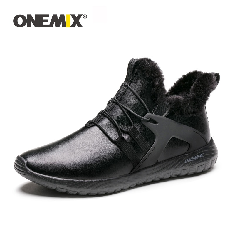 ONEMIX-أحذية الجري الشتوية للرجال ، أحذية الكاحل ، أحذية خارجية ، جلد ناعم مقاوم للماء ، الدفء ، أحذية الثلج ، أحذية المشي