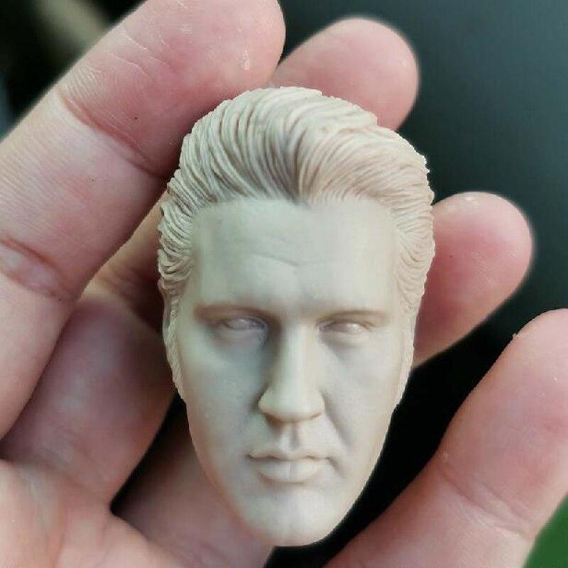 """Em branco 1/6 escala o cantor elvis presley cabeça esculpir sem pintura caber 12 """"figura"""