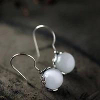 s925 sterling silver earrings female fish man tears earrings opal natural crystal jade fashion long eardrop jewelry