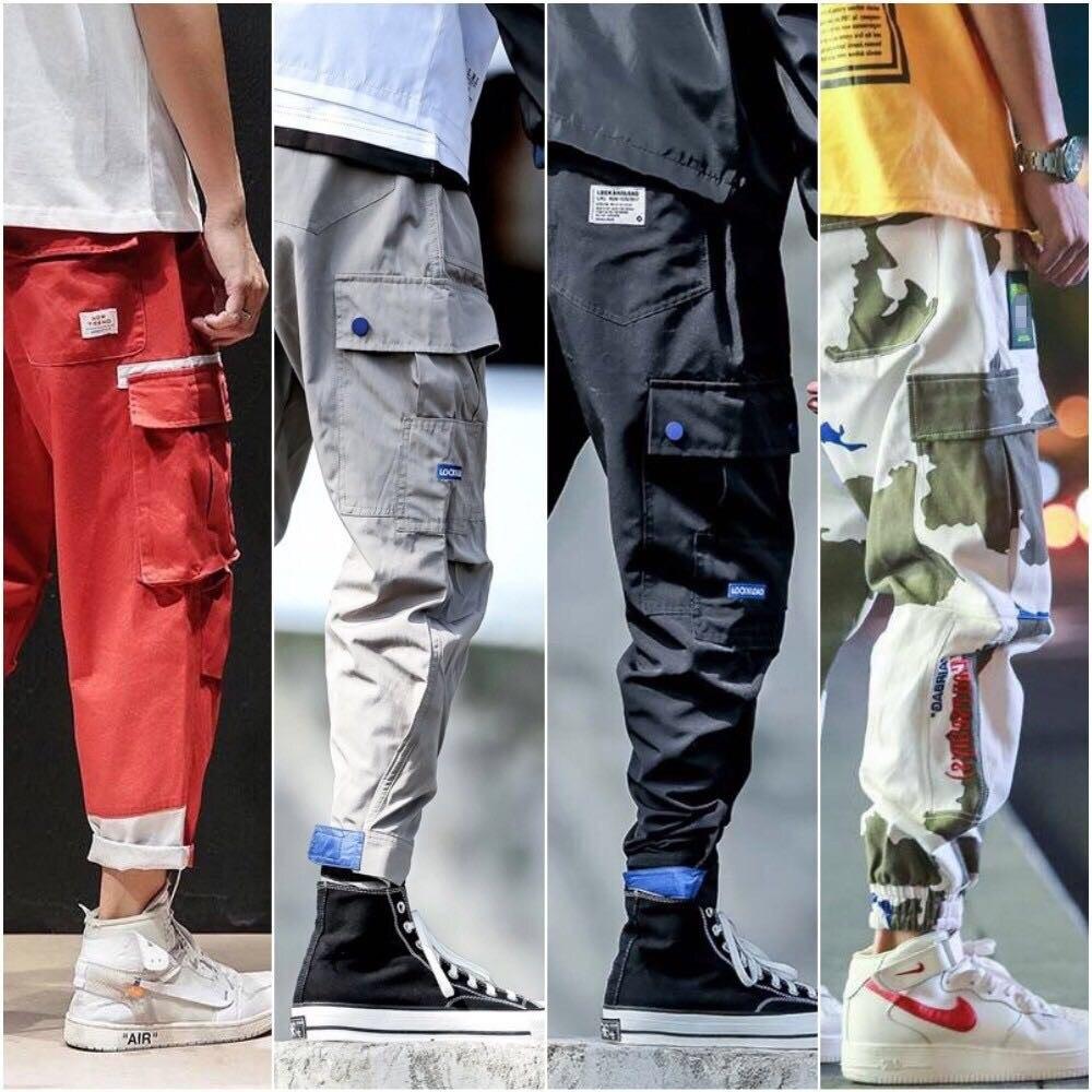 Homens Bonitos Multi-bolso Harem Pop Calças Streetwear Sweatpants Hombre Masculino Casual Moda Carga Hip