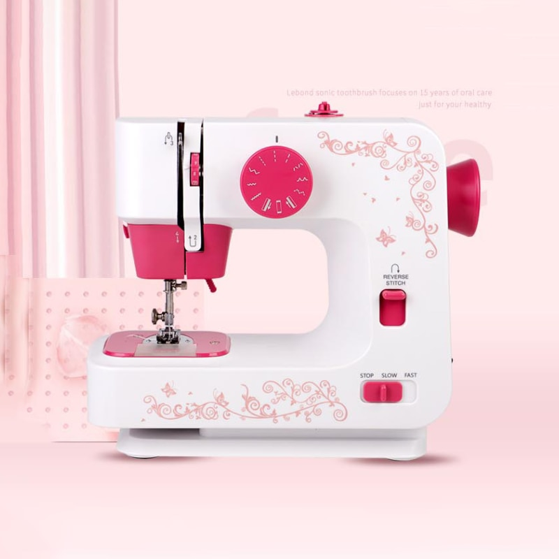 JG-1501S Home Mini Sewing Machine Electric Desktop Household Overlock DIY Clothe 2 Speed 12 Stitches Portable Battery/DC Adapter