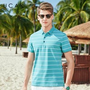 UCAK Brand Classic Turn-down Collar Striped T-Shirt Men Clothes Summer New Fashion Style Streetwear Casual Cotton Tee Tops U5592
