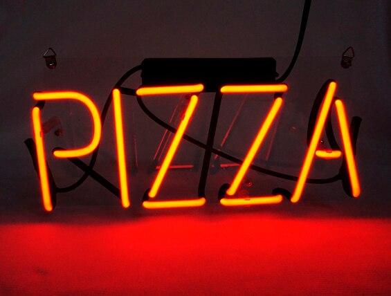 Nome Bar Cerveja Sinal da Luz de néon Personalizado Home Decor Lâmpada Loja de Exibição Aberto PIZZA 12X6