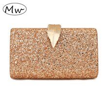 Ladies Clutch Purse Gold Sequin Evening Bag Luxury Wedding Purse for Bridal Party Pink Handbag Chain Shoulder Bag MW056