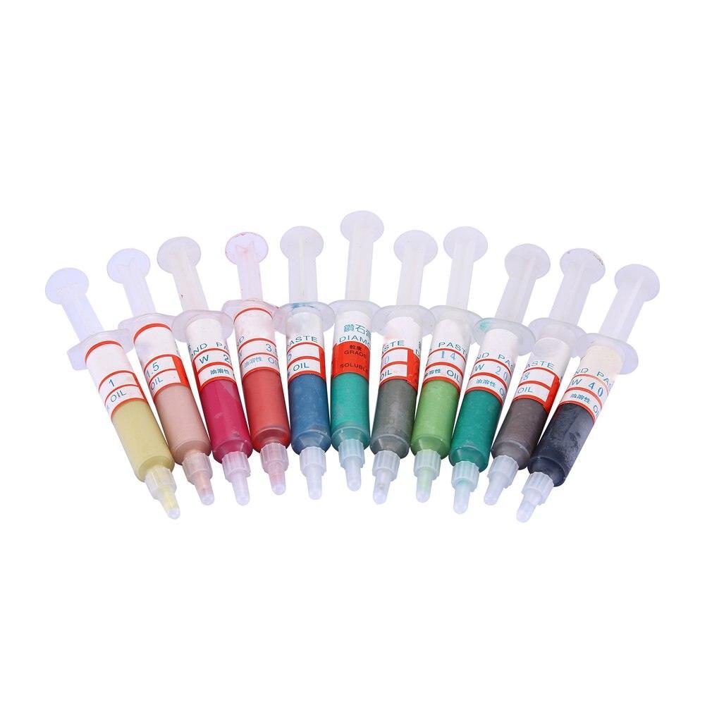 11 Uds. Herramienta de pulido diamante Soluble en aceite pasta de pulido jeringas compuestas herramientas de pulido abrasivas opcionales