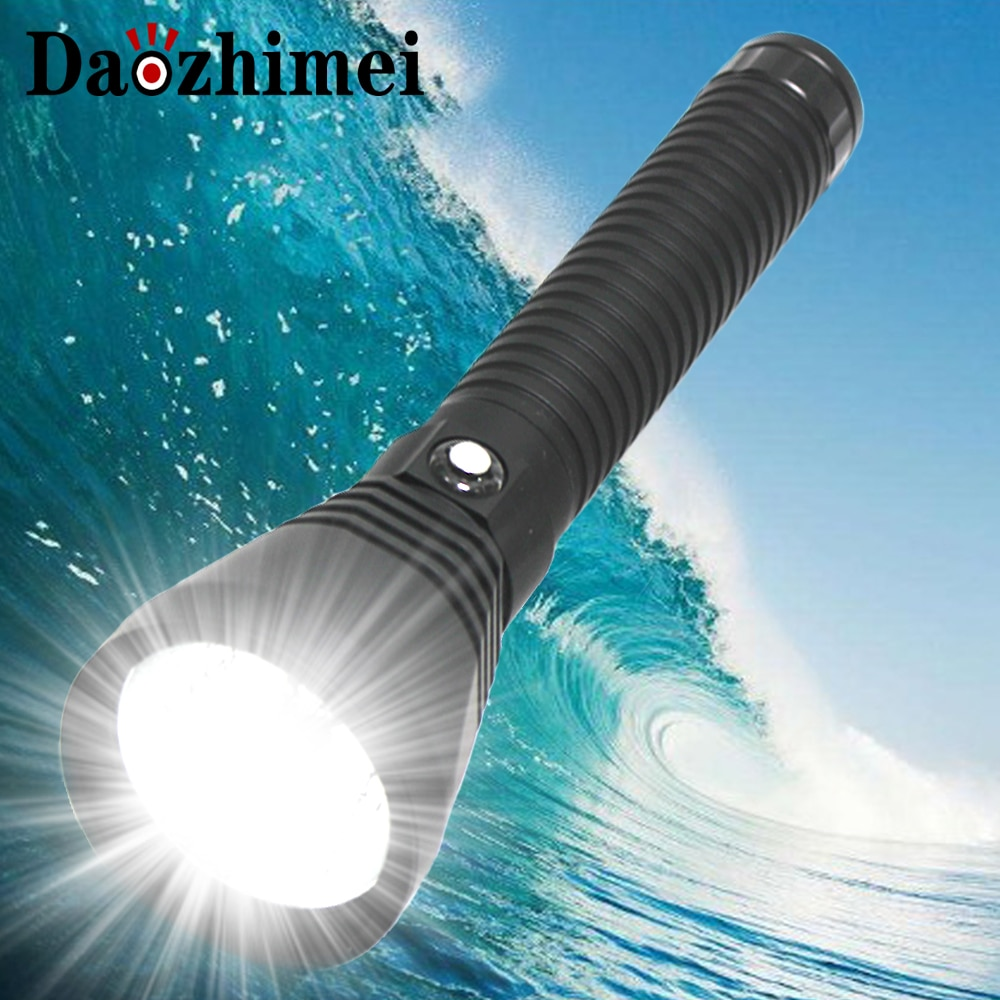 8000 Lumens New LED Diving Flashlight XHP70 White Light Underwater 100M Waterproof Scuba Torch 26650 Battery Charger
