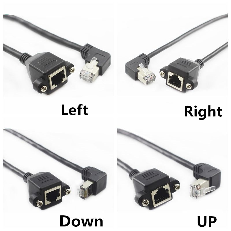 60cm UP Down Right Left Angled 90 Degree 8P8C FTP STP UTP Cat5 RJ45 with screw Lan Ethernet Network Extension Cable 1ft 0.3m