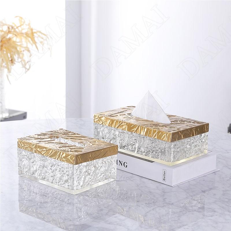 European Crystal Resin Tissue Box Light Luxury Relief Decorative Living Room Modern Paper Box Hotel Front Desk Tissues Organizer