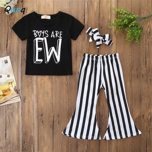 2 3 4 5 6 Year Baby Girls Clothing Set Headband Black T-shirt Pant 3pcs Kids Clothes for Girl Summer Casual Children Suits