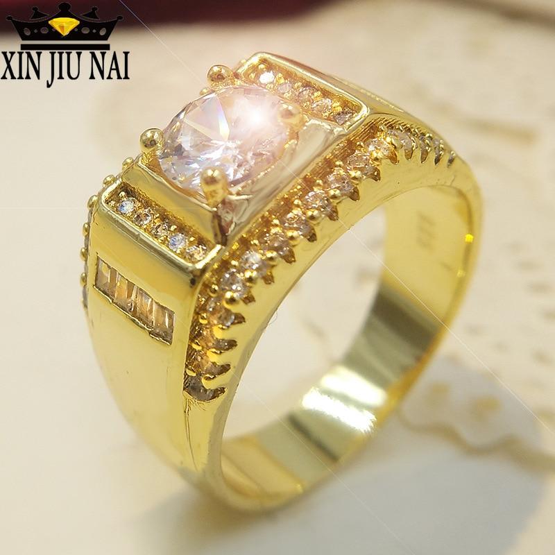 Anillos de cristal Cz de piedra de moda para hombre, anillo de compromiso de Color dorado Vintage, joyería de moda 2019, joyería de oro de 14k