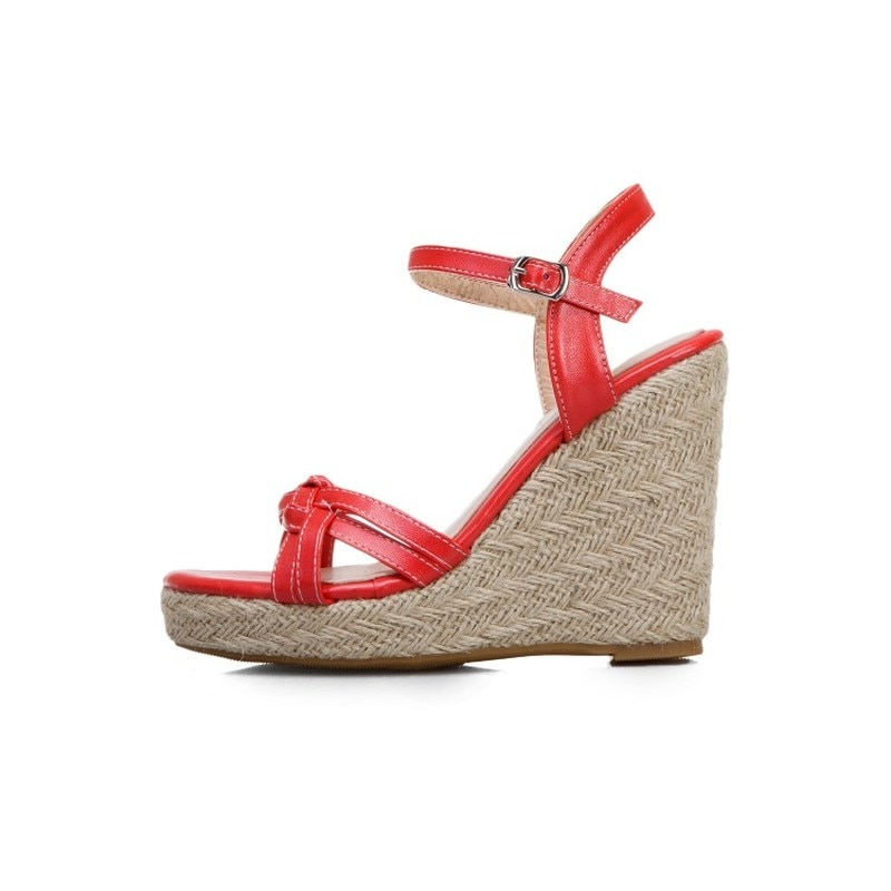 Wedge Sandals For Women Summer Shoes Fashion Knitted High Heels Gladiator Sandals Casual White Party