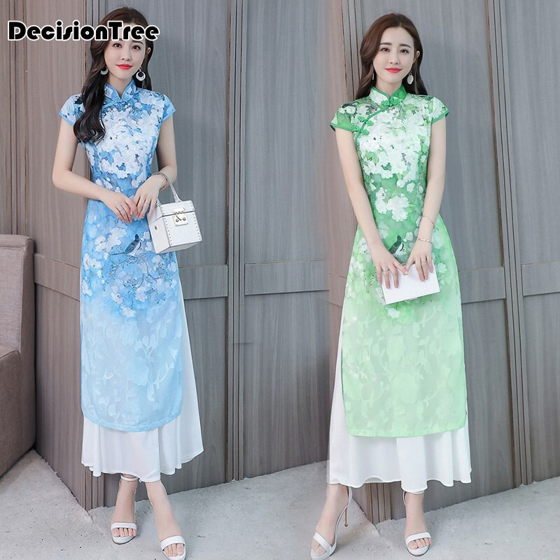 2020 folk style vietnam robes chiffon aodai graceful dress stand collar elegant traditional clothing ao dai vietnam clothing