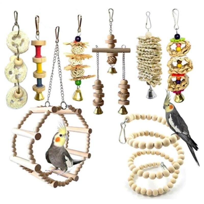 8PCS Wooden Parrots Pet Bird Toys Set Bird Ladder