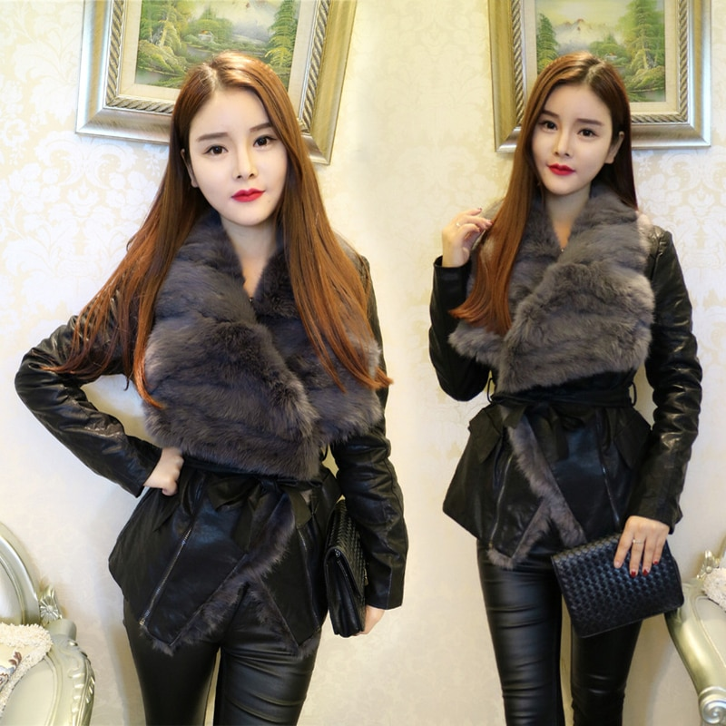 2020 Regular Jacket Zippers Women Jaqueta Couro Belt Full Autumn And Winter New Women's V-neck Pu Real Fur Collar Woman enlarge