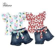 Pudcoco 2 sztuk zestaw ubrań maluch dziewczynek nadruk flaminga kwiatowy arbuz topy T-shirt Denim spodenki dżinsowe spodnie dzieci stroje