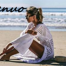 Genuo 2019 Sexy Hollow Out Solid White Tunic Beach Dress Plus Size Women Summer Beachwear Flare Slee