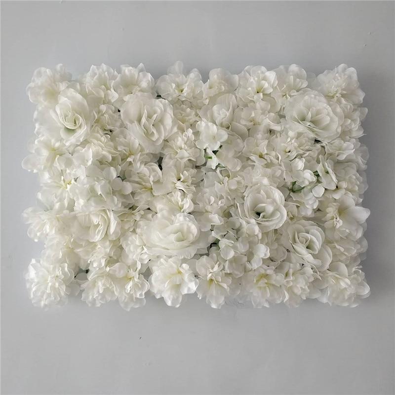 40x60CM White Silk Rose Flower Wall Artificial Flower for Wedding Decoration Flower Wall Romantic Wedding Home Backdrop Decor