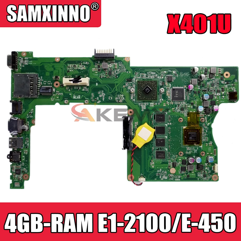 Akemy X401U-M3 اللوحة الأم لأجهزة الكمبيوتر المحمول ASUS X501U (15 بوصة) X401U (14 بوصة) اللوحة الرئيسية الأصلية 4GB-RAM E1-2100/E-450 وحدة المعالجة المركزية