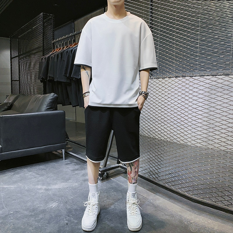 Summer Mens Sets Loose Sports Casual Men Sweat Suit Solid Color O Neck Short Man Track Suit Set Male Jogger Sets (Tshirt+shorts)  - buy with discount