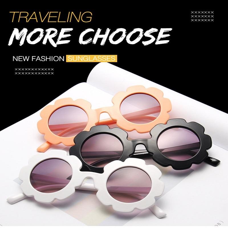 Vintage Kids Sunglasses Child Sun Glasses Round Flower Gafas Baby Children UV400 Sports Sun Glasses