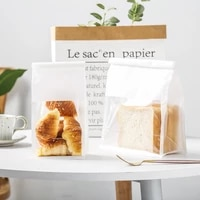 50pcs baking toast self sealing packaging curling wire sealing bread transparent window open oil proof cotton white paper bags