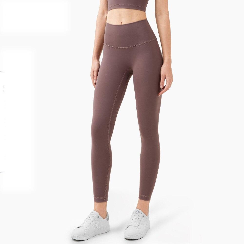 تصميم الأزياء الإناث عالية الخصر الجلد ودية موضة ملابس رياضية ملابس الجري خارج اليوغا السراويل اليوغا يغطي الرجل