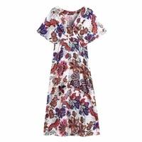 summer women vintage printing cross v neck midi dress female raglan sleeve clothes casual lady loose vestido d8153