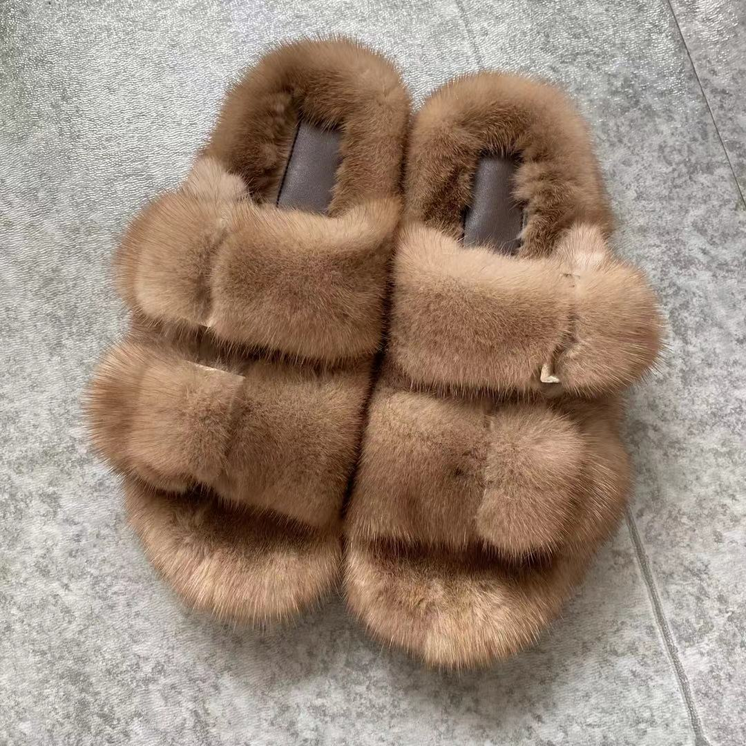 New Ladies Slippers 100% High Quality Mink Slippers Real Mink Slippers Casual Flat Shoes Home Shoes Girls Outdoor Slippers Fast