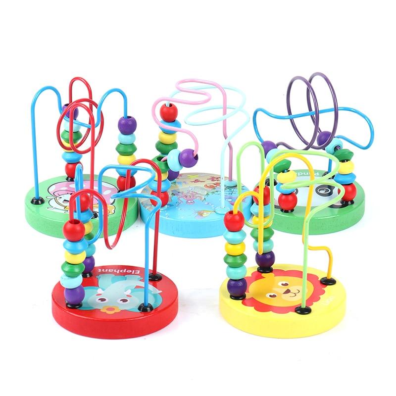 Деревянные игрушки Монтессори, 1 шт., деревянные круги, бусины, проволока, лабиринт, американские горки, Развивающие деревянные головоломки, ...