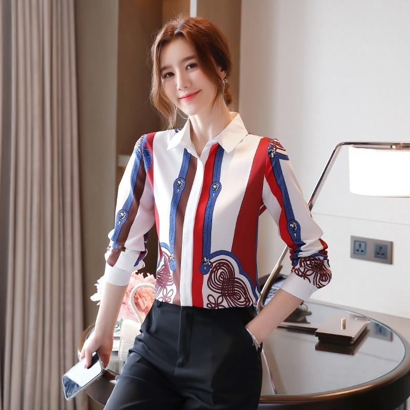 Женские рубашки 2020, женские офисные рубашки, осенняя блузка с длинным рукавом, полосатая рубашка с принтом, женские топы, блузы