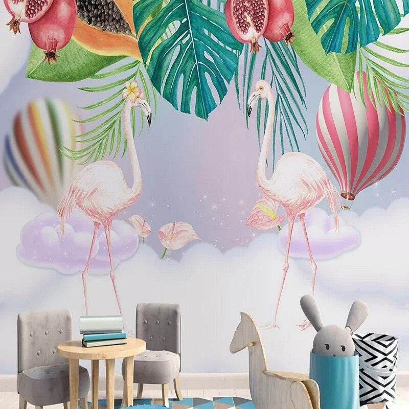Mural grande personalizado 3D papel pintado dibujos animados animales flamencos amor niño dormitorio mural TV decoración de pared trasera profundo 5D en relieve