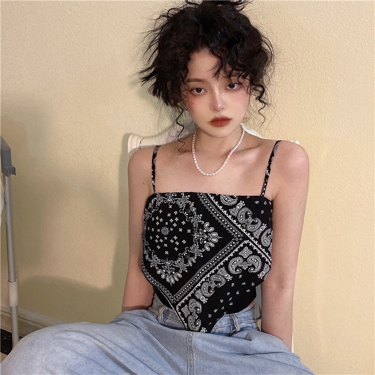 2021new Small Sling Women's Spring Ins Paisley Slim Fit Inner Wear Outer Wear Black Bf Vest Top Fash