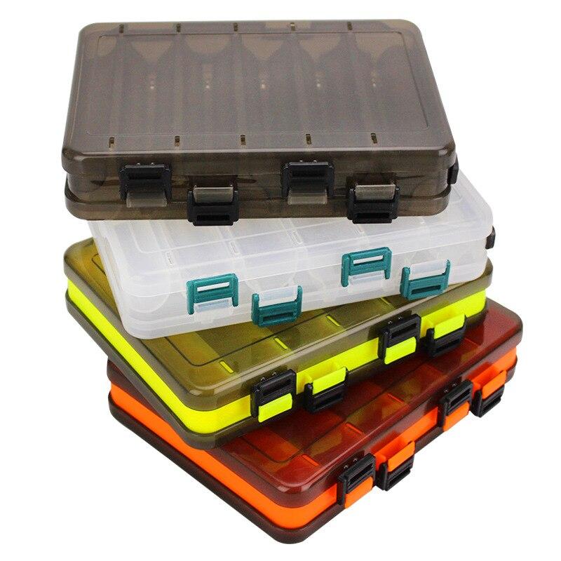 Caja de almacenamiento de aparejos de pesca con mosca portátil soporte de cebos de pesca cajas de señuelos de plástico de doble cara suministros de pesca