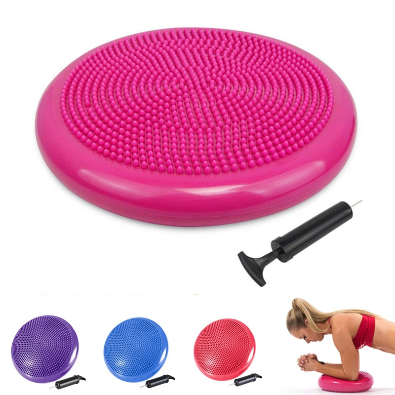 Надувной Массажный мяч для йоги 33x33 см с воздушным насосом, стабильная воблённая подушка, Балансирующий диск для йоги, тренировочный мяч для...