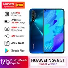Version mondiale Huawei Nova 5 T 5 T 8GB 128GB Smartphone 48MP caméras avant 32MP 6.26 'écran Kirin 980 Android 9