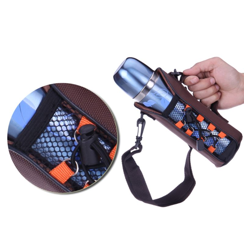 Portabotellas con aislamiento térmico funda bolsa funda cartuchera con correa de hombro herramienta al aire libre Q39B