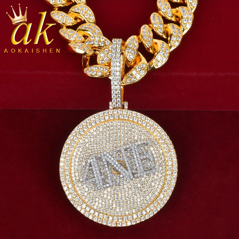 Custom Name Medal Pendants Any Font Letter/Number/Symbol/Color Rapper Style Men's Necklaces Chain Jewelry