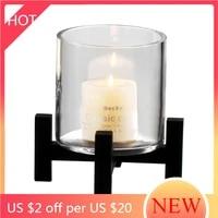 nordic glass pillar candle holder luxury simple creative candlestick clear centerpiece porta candele wedding decoration ah50ch