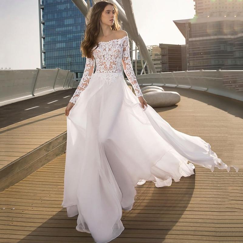 Sexy Summer Wedding Dresses Lace Long Sleeve Wedding Gowns A Line Chiffon Beach Bridal Dress 2021 Buttons Robe de Mariage