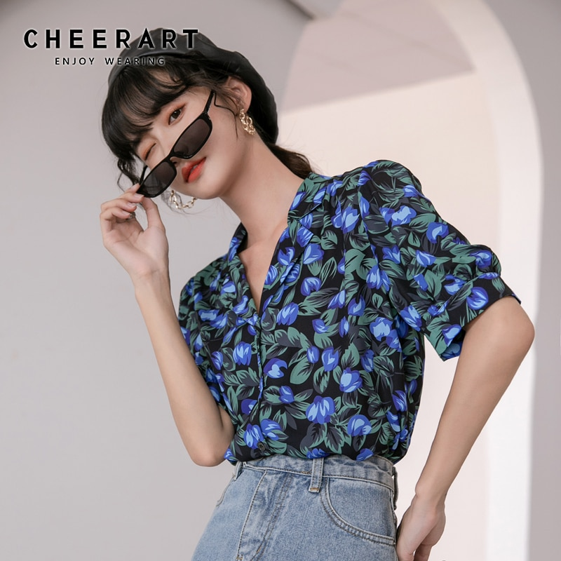 CHEERART, blusa Vintage de manga abombada para verano, camisa con flor para mujer, solapa, manga corta, azul, Floral, Top con botones, camisa coreana